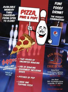 KEN DIXIE PIZZA PINS POP FLYER